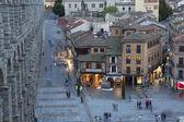 View of main square and roman aqueduct Segovia Spain — Stock Photo