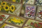 Paintings of flowers — Stock Photo