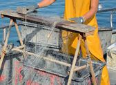 Work on a fishing boat — Stock Photo