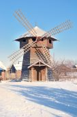 A wind mill in the Russian village — 图库照片