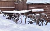 Cart for the horse stands in the yard — Foto de Stock