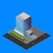 Isometric business center building — Stock Vector