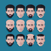 Set of male faces — Stock Vector