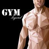 Caucasian or asian man muscle body — Stock Vector