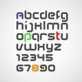 Latin alphabet letters and numbers — Stock Vector