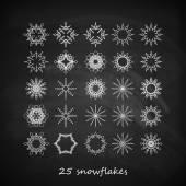 Graceful snowflakes on blackboard — Stock Vector