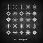 Graceful snowflakes on blackboard background — Stock Vector