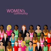 Velká skupina dívek a žen — Stock vektor