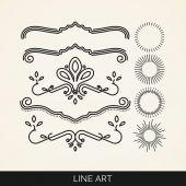 Line art elements for design — Stock Vector