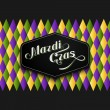 Vector illustration of Mardi Gras or Shrove Tuesday lettering label on checkered background. Holiday poster or placard template — Stock Vector #63304535