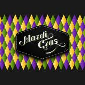 Vector illustration of Mardi Gras or Shrove Tuesday lettering label on checkered background. Holiday poster or placard template — Stock Vector
