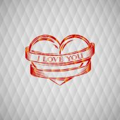 Vector illustration with engraving red heart and ribbon. I love you. Happy Valentines Day — Vector de stock