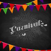 Vector Ilustração tipográfica de carnaval de palavra ornamentado giz sobre a textura do quadro-negro com bandeiras festivas multicoloridas — Vetor de Stock