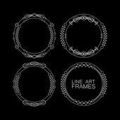 Vector set of floral monogram frames. line art elements for design — Stockvektor