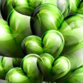 Vector holiday illustration of flying green balloon hearts. Valentines Day or wedding background — Vector de stock