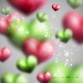Vector holiday illustration of flying blurred multicolored hearts. Happy Valentines Day or wedding background — Vector de stock