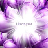 Vector holiday illustration of purple flying balloon hearts with shiny burst, explosion or flash. Valentines Day or wedding background. I love you — Vector de stock