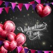 Vector chalk typographic illustration of handwritten St. Valentines Day retro label on the blackboard background with flying red balloon hearts and festive flags. holiday lettering composition — Stock Vector #63330977