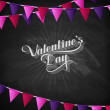 Vector chalk typographic illustration of handwritten St. Valentines Day retro label on the blackboard background with festive flags. holiday lettering composition — Stock Vector #63331499