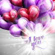 Vector holiday illustration of  I love you label on the festive balloon hearts background with shiny burst, explosion or flash — ストックベクタ #63360649