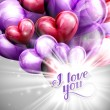Vector holiday illustration of  I love you label on the festive balloon hearts background with shiny burst, explosion or flash — 图库矢量图片 #63360649