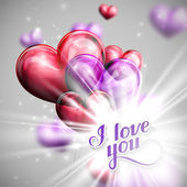 Vector holiday illustration of  I love you label on the festive balloon hearts background with shiny burst, explosion or flash — Vector de stock
