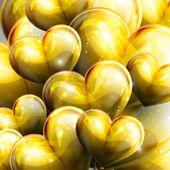 Holiday illustration of flying yellow balloon hearts — Stock Vector