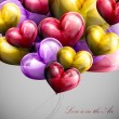 Holiday illustration of flying bunch of balloon hearts — Vector de stock  #65470105