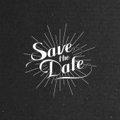 Illustration of handwritten Save the Date label — Vettoriale Stock