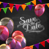 Chalk illustration of Save the Date label with balloons and flags — Stockvector