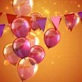 Illustration of bunting flags, flying balloons and sparkles — Vettoriale Stock