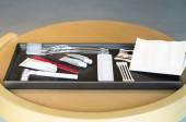 Hotel amenities kit on tray — Stock Photo