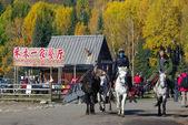 Xinjiang - set 23: Undefined uomo cavalcando un cavallo al villaggio di hemu 23 settembre 2010. È stato classificato dalla Cina geografia nazionale come uno dei borghi più belli sei in Cina — Foto Stock