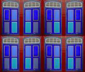 Colorful windows and doors — Stock Photo