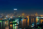 Bangkok cityscape that can see The Bhumibol Bridge at twilight, — Stock Photo