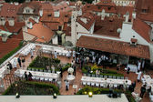 Wedding reception over the rooftops in Prague — Stock Photo