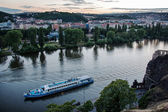Landscape of Vltava river from Vysehrad in early evening, Prague — Stock Photo