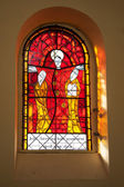 New stained glass windows of the church in Litovel — Stock Photo
