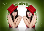 Christmas girl, looking up, concept of surprise and luck — Stock Photo