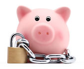 Piggy bank with chain and padlock isolated on white background — Stock Photo