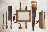 Collage work wood tools carpenter and picture frame — 图库照片