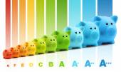 Energy class efficiency scale savings of colorful piggy bank — Photo