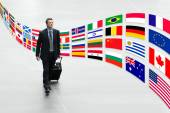 Businessman traveling with trolley international flags trip concept — Stock Photo