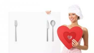 Chef woman showing sign with heart shape — Stock Video