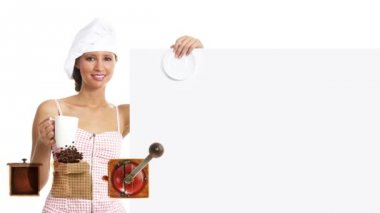 Chef woman showing indicate billboard with cup, coffee promotion — Stock Video