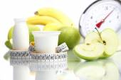 Diet food yogurt fruit Apple meter scales — Stock Photo