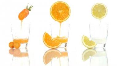 Carrot orange lemon juice vitamin a c e — Stock Video