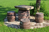 Chairs and table from barrel — Foto de Stock