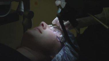 Repositioning of lasik corneal flap — Stock video