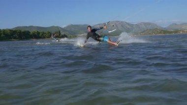 Kiteboarder hand drag — Video Stock